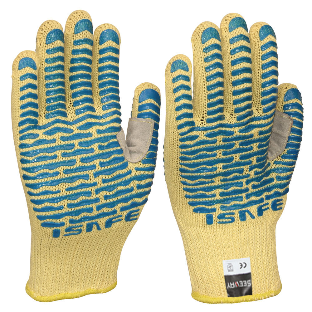 Seeway Heat Resistant 932F High Temperature Silicone Coated Safety Gloves With The V Shape Leather Sewn