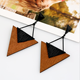 Wooden Triangle Earrings cross border goods source, European and American explosive custom custom retro personality creative