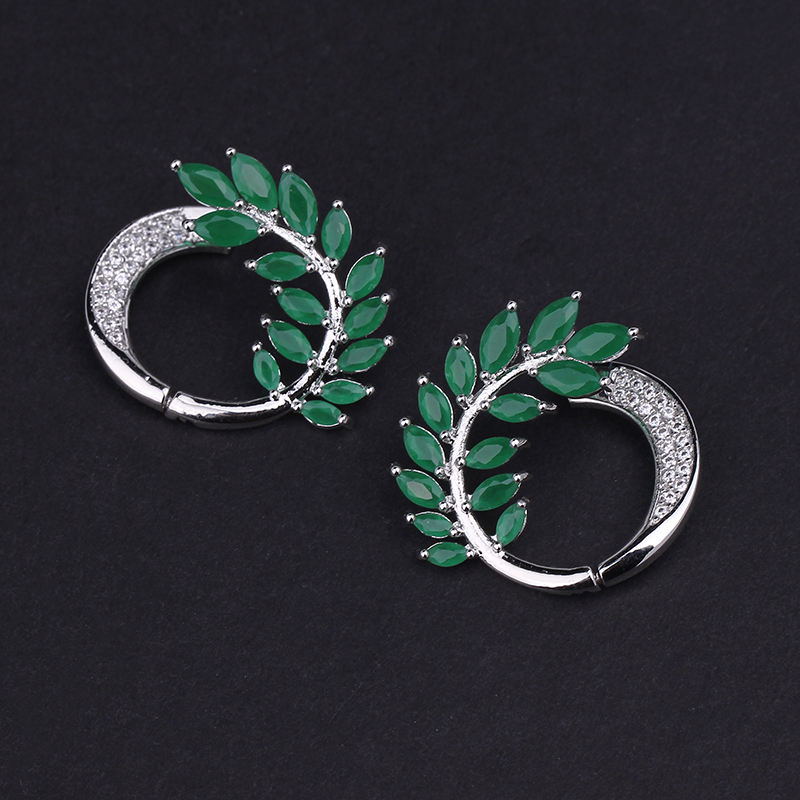 Fashion Brand Jewelry Milk Emerald Green Stone Clear CZ Olive Leaves Round Shaped Stud Earrings for Women