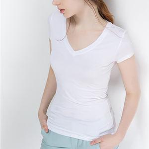 Womens T Shirts Blank Plain White polyester T Shirt For Custom Printing Short Sleeve V Neck Manufacturer