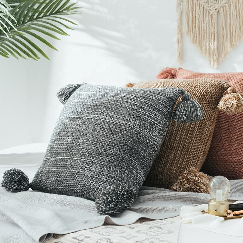 Factory Price Home Knit Decorative Couch Pillow Cushion With Tassel