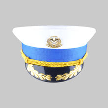 Customize Embroidered Logo Navy Peak Cap Military Police Captain Hat Officer Cap