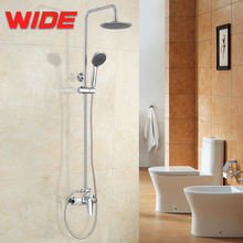 Chrome wall mounted bath shower faucet set big rain shower head+ hand spray mixer tap