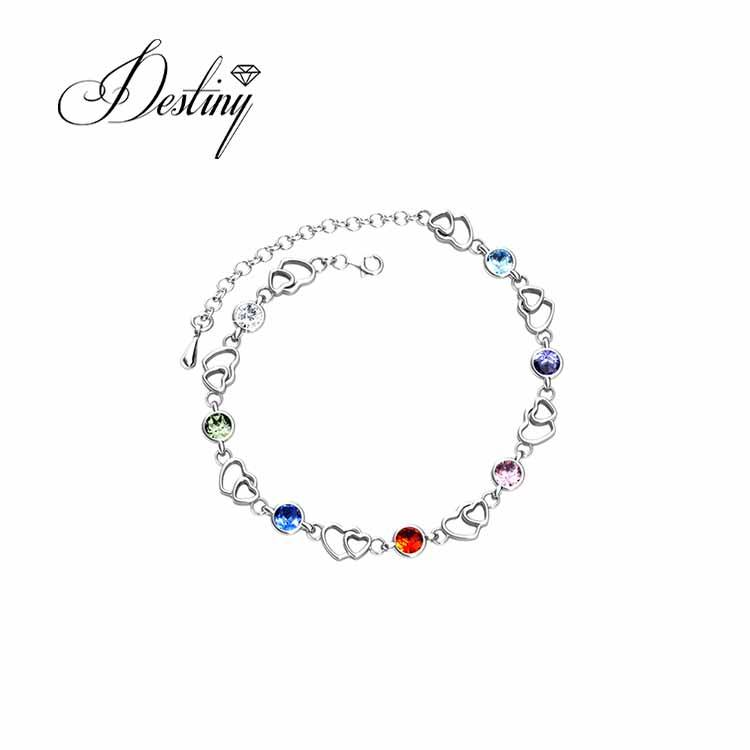 Destiny Jewellery hot sale bracelet wholesale fashion heart chain bracelet women gold plated made with crystals from Swarovski