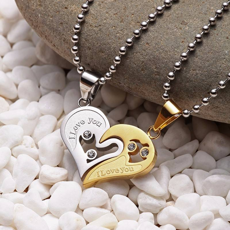 Couple Necklace Pendant Love Heart CZ Puzzle Matching Two Halves Heart for Lovers Memorial Day Gift Paired Necklace