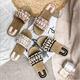 2019 trendy summer flat pearl slippers sandals soft string bead beach sandals women