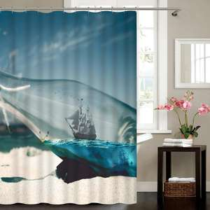 Digital Printing Ocean Series Personalized Beach Shower Curtain