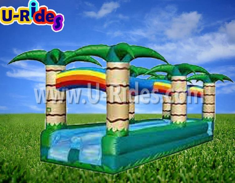 colorful coconut tree inflatable water slide water slip