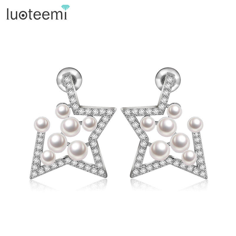 LUOTEEMI NEW Fashion Lady Cheap Cubic Zirconia White Pearl Star Pierced Ear Stud Earrings For Women