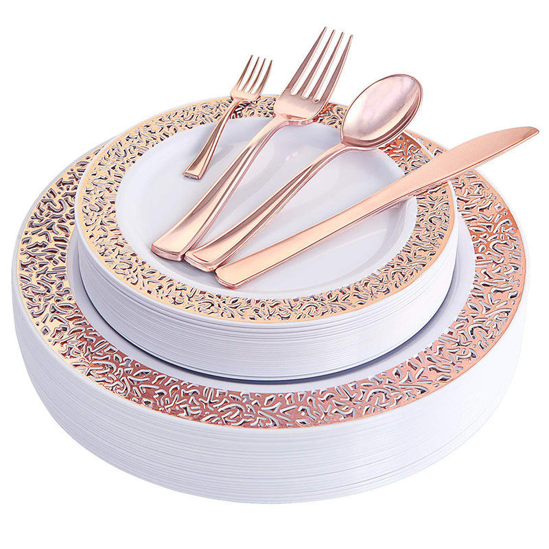 Disposable Plastic Plates Rose Gold Hollow Lace Design Party Tableware Sets Gold Disposable Tableware Set