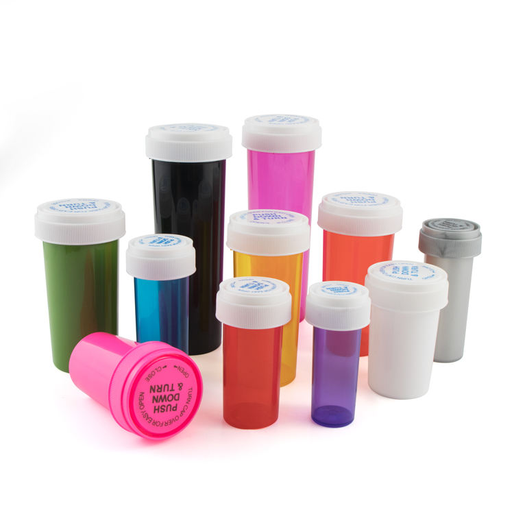 6 8 13 19 30 Dram Colorful Pharmaceutical Pill Vials Airtight Child Resistant Proof Safety Reversible Push and Turn Plastic Tube