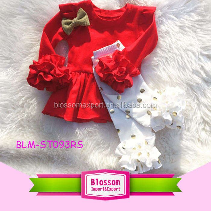 2017 Fall Giggle Moon Remakes Children Boutique Clothing Sets Red Girls Icing Ruffle Dress And Knit Ruffle Pants Outfits