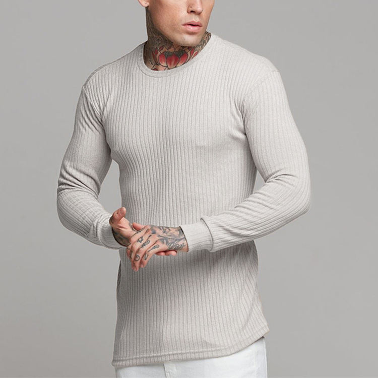 Yihao Sports fitness leisure men slimming sweater long sleeve T-shirt men