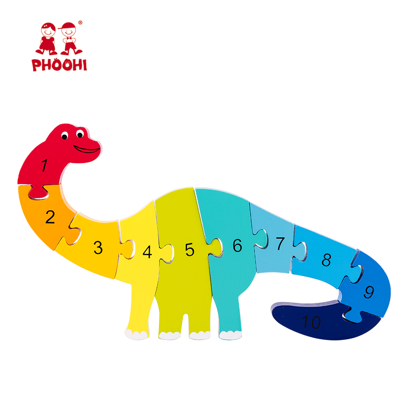 Preschool educational play number toy wooden dinosaur animal jigsaw puzzle for kids