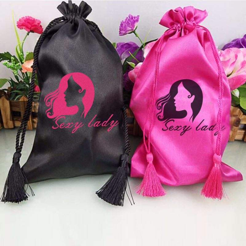 Custom satin silk bags with tassel drawstring for hair extensions