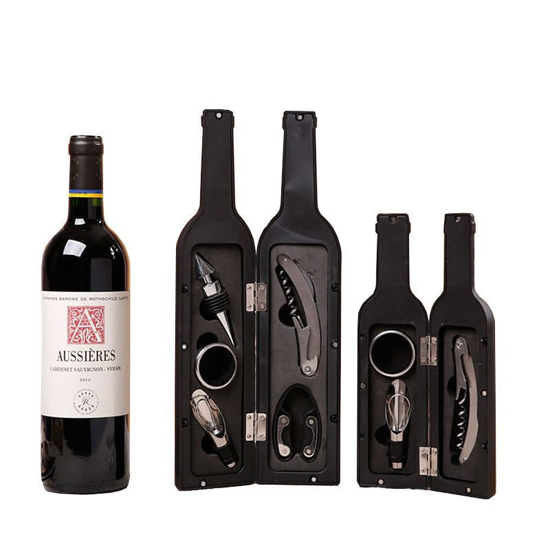 Free sample bar accessories 5 Pieces metal wine bottle opener set stainless steel bottle shape wine corkscrew gift set