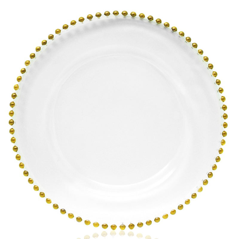 Hot Selling cheap gold glass beaded cheap gold charge plate charger plate