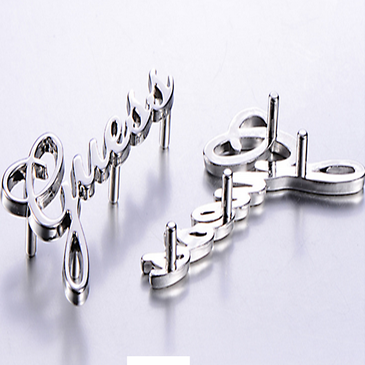 3D Letters Brand Metal Logo for Bag Factory OEM Metal Logo