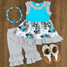 Wholesale little girl colorful pattern ruffled clothes kids summer sets children Turquoise & Gray Floral Ruffle Capri Set girls