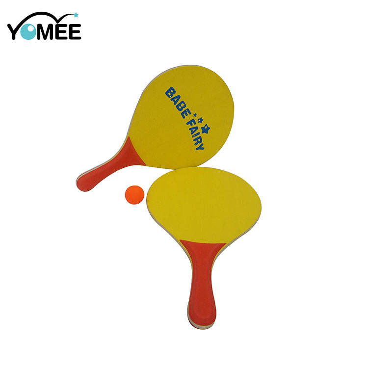 Graphic Customization Racket Paddle Wholesale Cheap Outdoor Sports Beach Paddle With Ball Wood Custom Printed Beach Racket