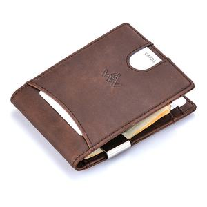 Vintage brown men pu leather slim rfid money clip wallet with coin pocket