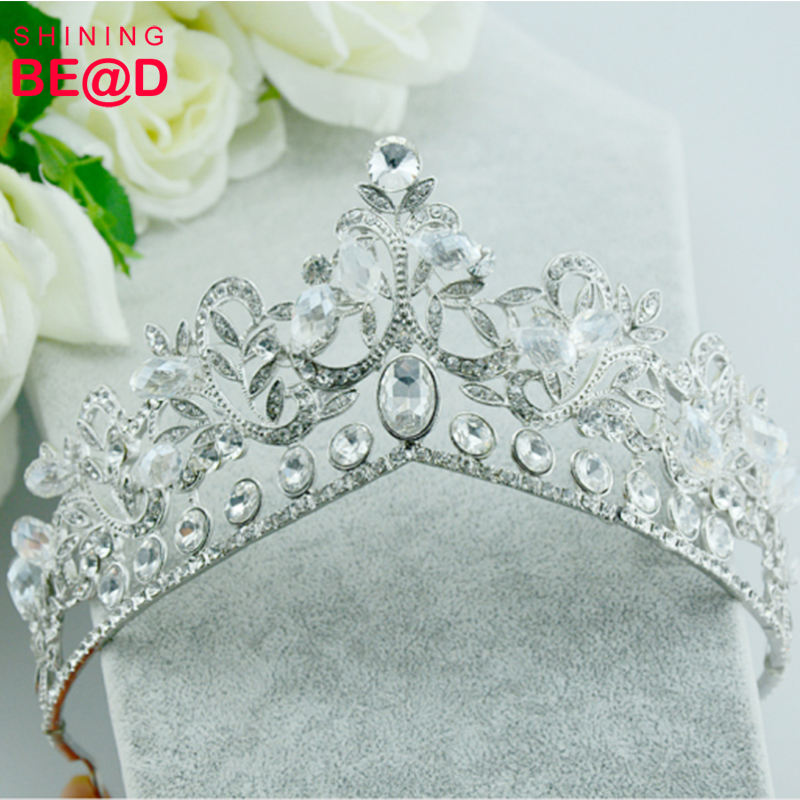 Wholesale fashion beauty pageant queen birthday rhinestone crowns and crown tiaras wedding jewelry set for sale