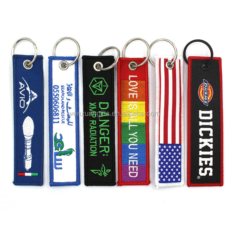 Best quality promotional gift new style no minimum custom embroidery keychain