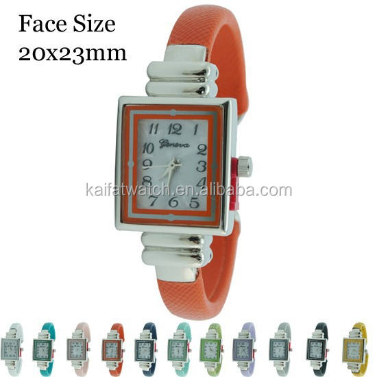 Chinse factory wholesale cheap fashion Geneva Tiny multicolor Assorted Cuff Bangle Watch