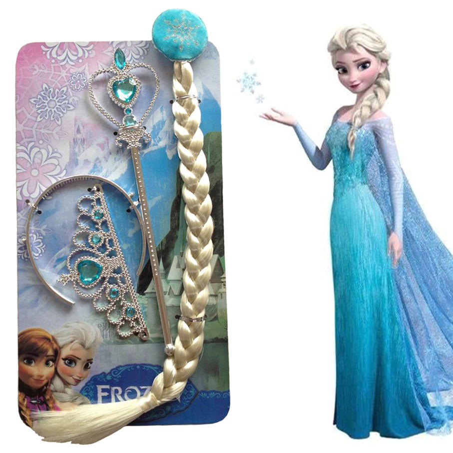 Frozen Girls Elsa Anna Princess Party Crown Tiara wig wang 3 pieces sets wholesale party girl accessories