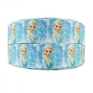 Wholesale Custom Cartoon Yellow Hair Princess Printed Grosgrain Ribbon,25mm freeze characters