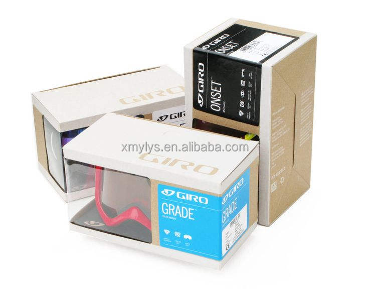 men women kids ski goggles packaging box printing with pvc transparent window