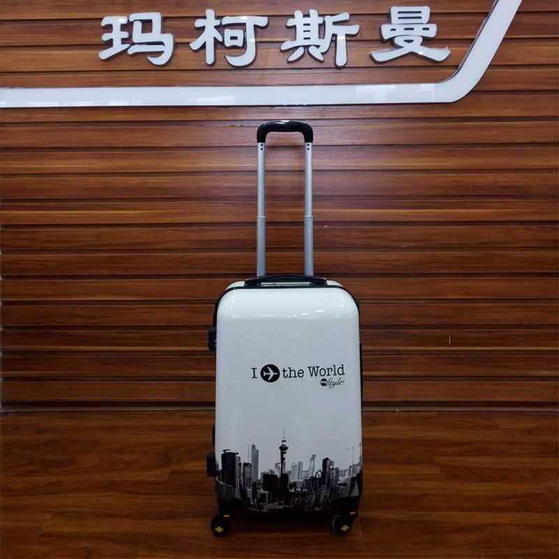 チェーンサプライヤー軽量abs + pcファッションビジネストロリー荷物セット、安いトロリーバッグ、トロリースーツケース