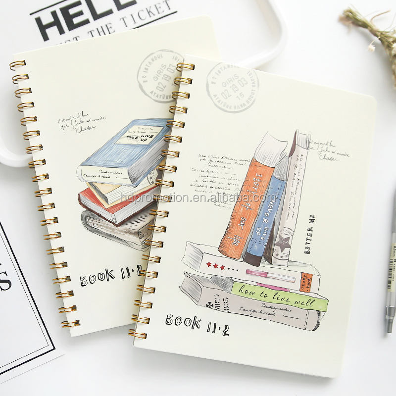 A5 Größe Hardcover Spirale Notebook, Cooles Design Benutzerdefinierte Notebook für Studenten, 80GSM Papier Notebook