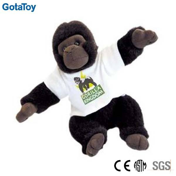 High quality custom stuffed toy soft toy plush gorilla with t-shirt