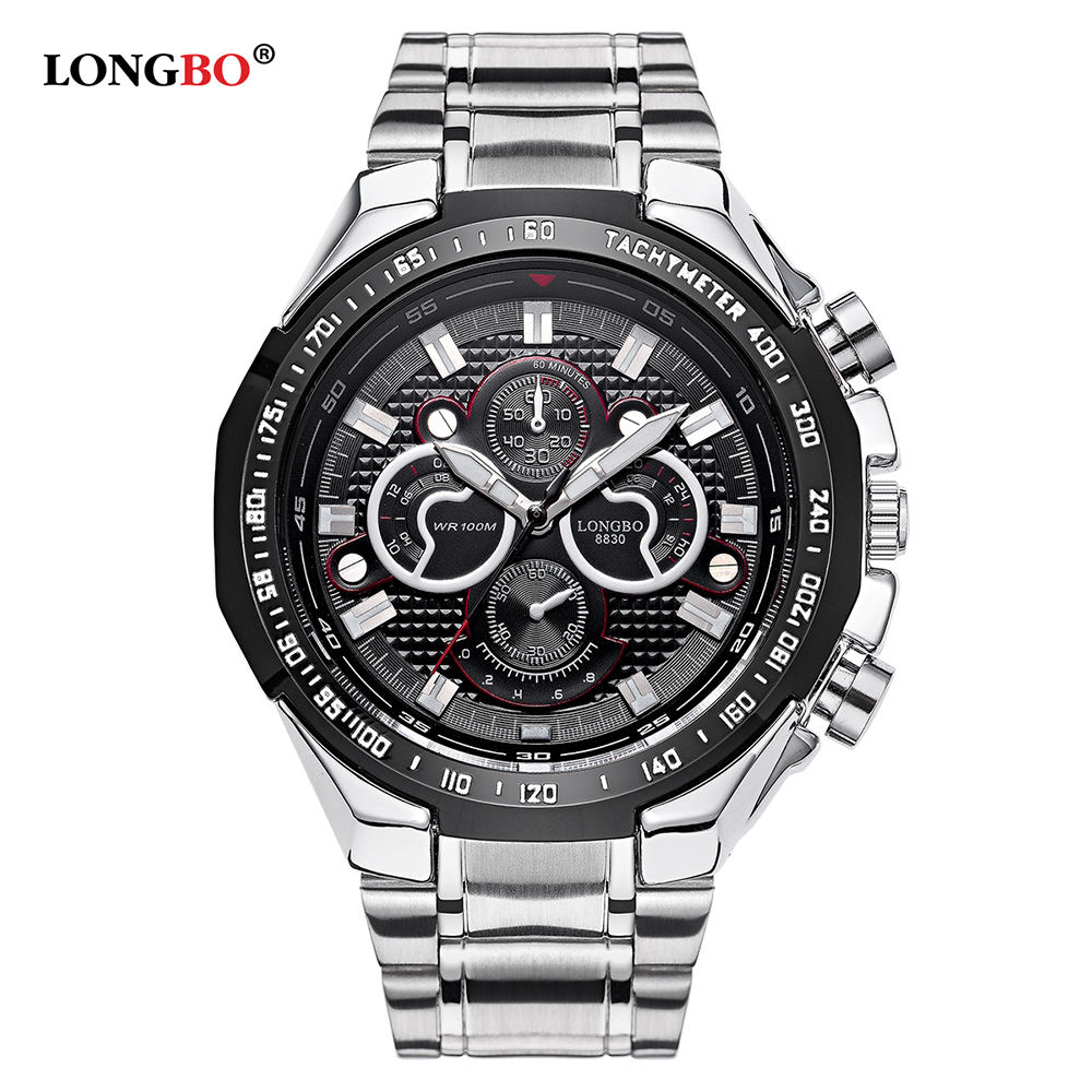 LONGBO 8830 Men's Quartz Wristwatch New Fashion Brand Luxury 30M Waterproof Sports All Steel Watches Relogio Masculino