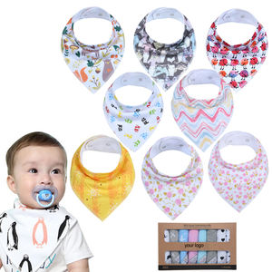 OEM service 8 pack baby bibs 100% GOTS organic cotton baby bandana bibs for boys and girls