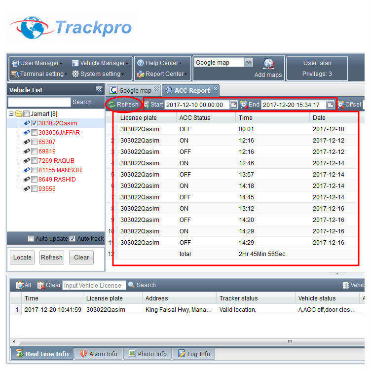 Online gps tracking software voor gps tracking server compatibel met Ulbotech T3XX serie