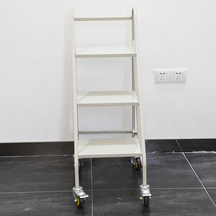 Rolling Step Stool Ladder Non Slip Working Platform Kick Mechanics Heavy Duty