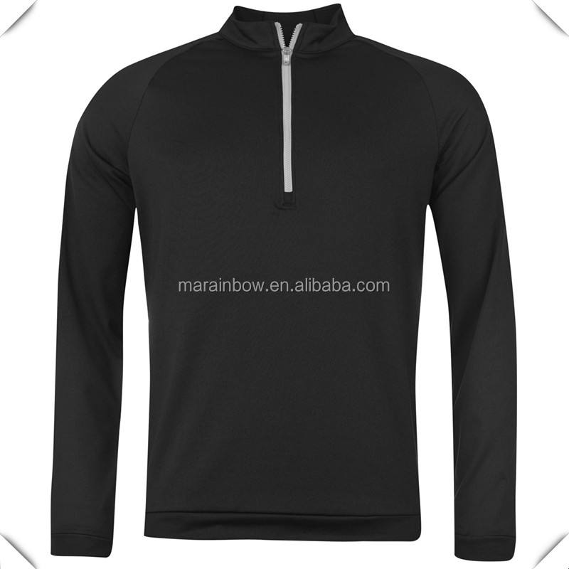 High quality technical performance dry fit 96% polyester 4% elastane stylish Mens raglan Layer Top pullover with half zip front