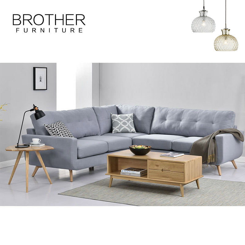 3 Seat [ American Style Sofa ] Sectional Sofa Living Room Sofas Wood American Style Living Room Modern Design L Shape Fabric Oak Sectional Corner Sofa With Wooden Leg