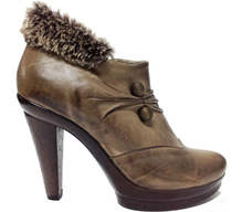 High Heel Leather Ankle Boot Fur