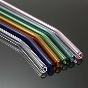 Reusable Bent and straight Glass Drinking Straws With Cleaning Brush
