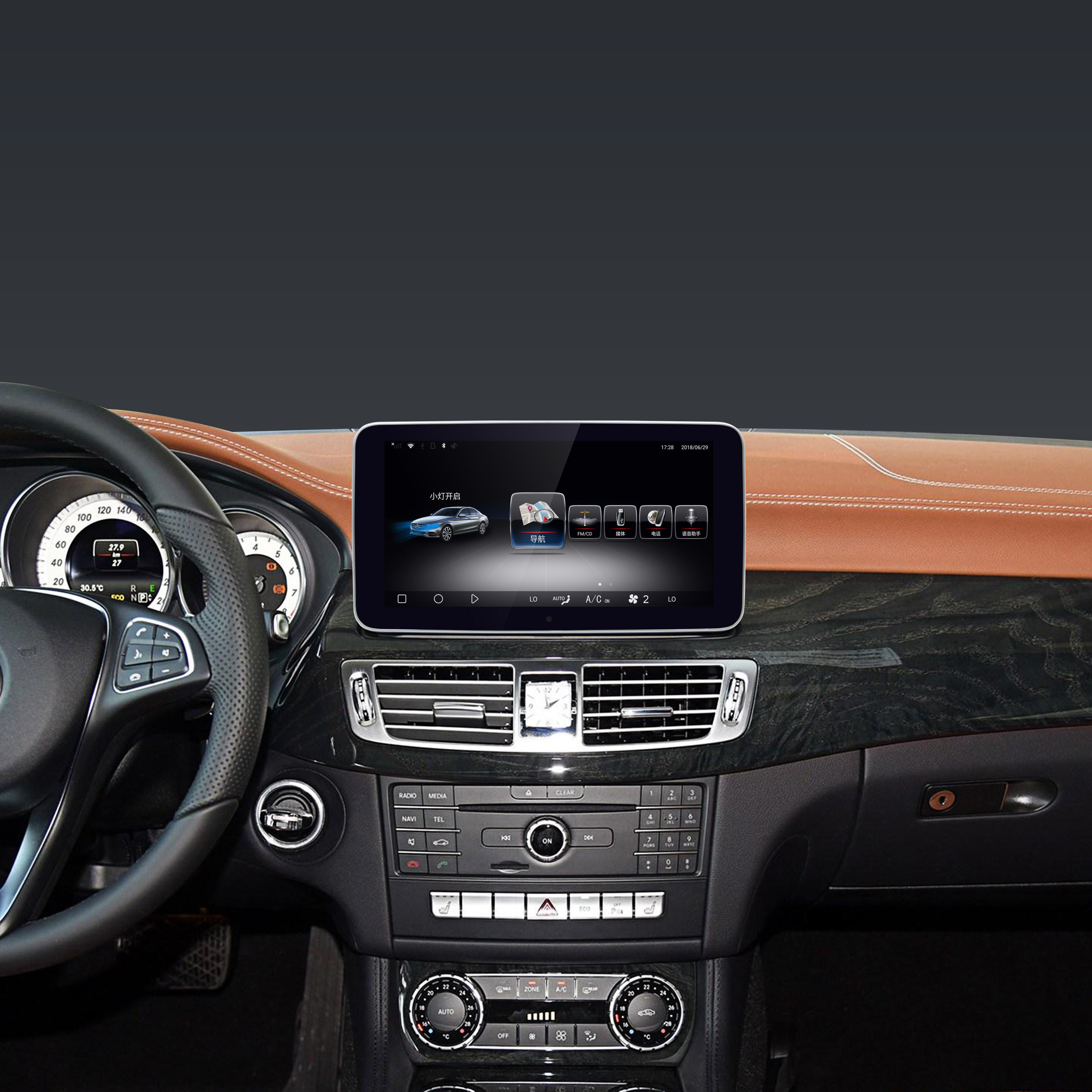 10.25 inch Android 9.0 system car multimedia player for Mercedes-Benz CLS 2014-2017AMI CABLE 4+64GB