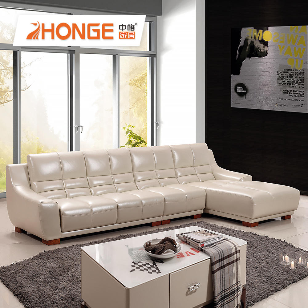 living room l shaped modern beige couch genuine leather plain color sofa set