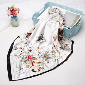 Turkey polyester lady head satin crepe scarf for hair square