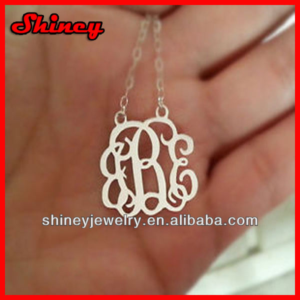 link chian 925 sterling silver rhodium plating monogram necklace