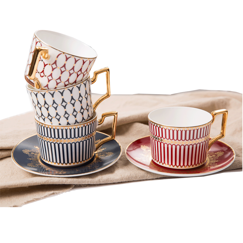 High-End Ceramic Arabic Coffee Milk Tea Cups Set With Luxury Golden Handle For Home And Office European cup