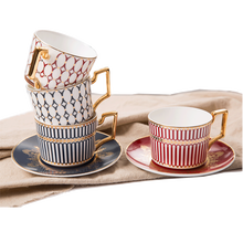 Free Sample High-End Ceramic Arabic Coffee Milk Tea Cups Set With Luxury Golden Handle For Home And Office European cup