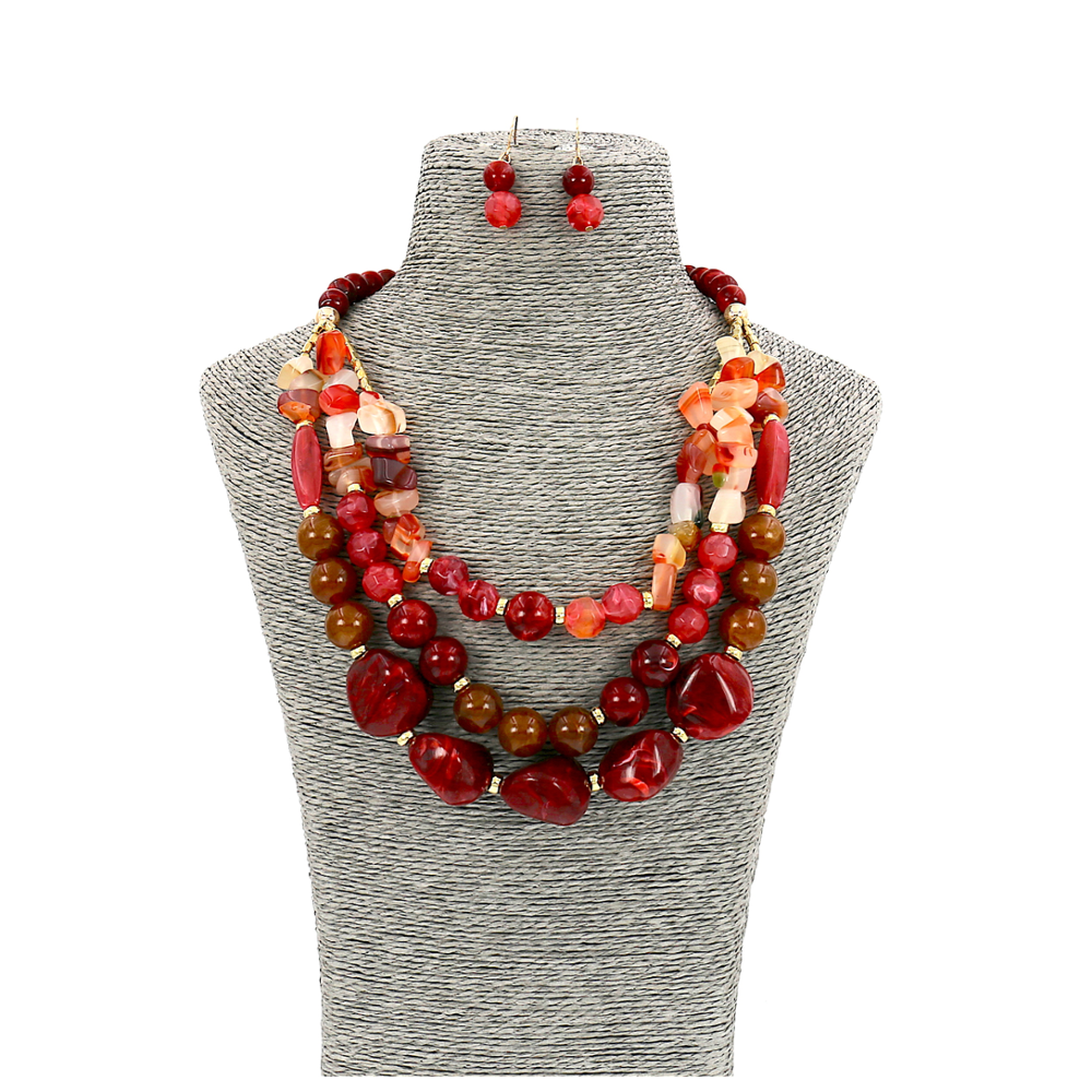 Fashion Jewelry Red Brown Resin Stone Statement Women Necklace and Earrings Set