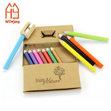 "3.5"" mini recycled paper color pencil in paper box,newspaper colouring pencil set"